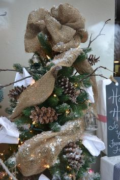 Ideal DIY rustic/shabby chic inspired burlap Christmas tree topper  YS63