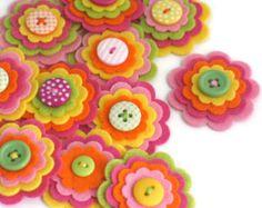 TUTTI FRUITTI x 3 Felt Flower Embellishments, Felties, Handmade Flowers, Felt Flower Applique, Felt Embellishment, Felt Bloom, Shop CLOSING