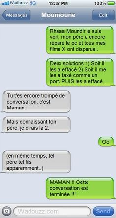 Tel père tel fils. Funny Messages, Text Messages, Morning Jokes, How To Speak French, Amazing Grace, Troll, Funny Jokes, Haha, Funny Pictures