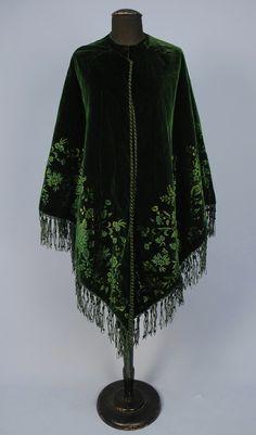 EMERALD GREEN CUT VELVET CAPE, 1870's - 1880's
