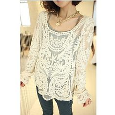 The One & Only Women's New Style Loose Fit Solid Color Cut Out Long Sleeve Shirt N6186015 - USD $ 12.99