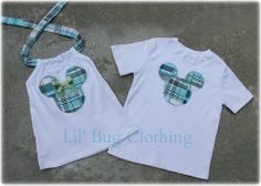 Custom Boutique Clothing Boys  Mickey  Mouse Madras Tee And Girls Madras Halter Brother Sister Tops