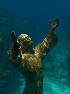Christ of the Abyss - scuba dive the underwater statue of christ, original in italy, others also off malta and florida coasts