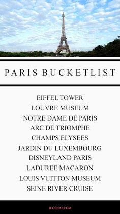 Paris Bucket List. Things to do in Paris France. Travel Tips in Paris France.