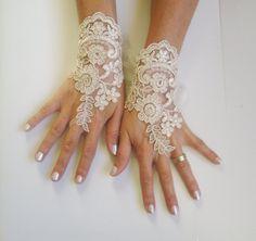 Soft beige  gloves free ship wedding bridal prom by GlovesWorld, $25.00