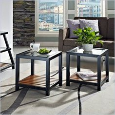 Walker Edison Glass Metal Wood End Table in Antique Brown(Set of 2)