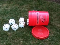 Dice Games for the yard: 'Ship, Captain, Crew (6, 5, 4)', 'Craps', and 'Bunco',