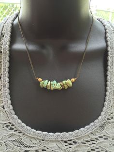Turquoise: short brass crystal necklace by RockFanatic on Etsy