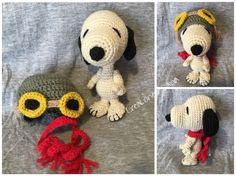 Snoopy más accesorios, crochet lana