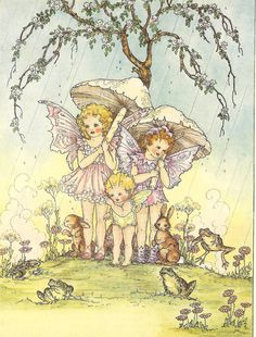 Vintage 1951 childrens print rescued from the book Dreamland Frolics written and illustrated by Doreen Baxter. The print / book plate shows three fairies standing under a cherry tree sheltering from the rain. They are accompanied by rabbits and frogs and holding mushroom umbrellas. The print / book illustration measures 7.25 x 9.5 inches( 18.5 x 24.5 cm.) edge to edge and is in very good vintage condition. There is a small closed tear at the edge of the bottom white margin but t...