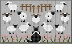 knitting charts of sheep Sheep Cross Stitch, Cross Stitch Animals, Cross Stitch Charts, Cross Stitch Patterns, Knitting Charts, Knitting Stitches, Baby Knitting, Knitting Patterns, Crochet Patterns