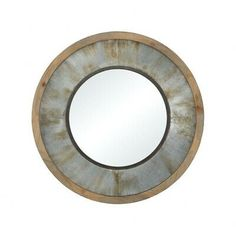 Sterling Industries Moonshine Wall Mirror Galvanized Steel with Salvaged Grey Oak Silver Wall Mirror, Wood Mirror, Round Wall Mirror, Grey Oak, Brown And Grey, Gray, Bathroom Glass Wall, Copper Frame, Mirrors For Sale