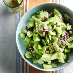 Cucumber Honeydew Salad with Feta by bhg: Tangy feta and lemony vinaigrette flavor this tasty salad. #Salad #Cucumber #Honeydew #Feta #Lemon