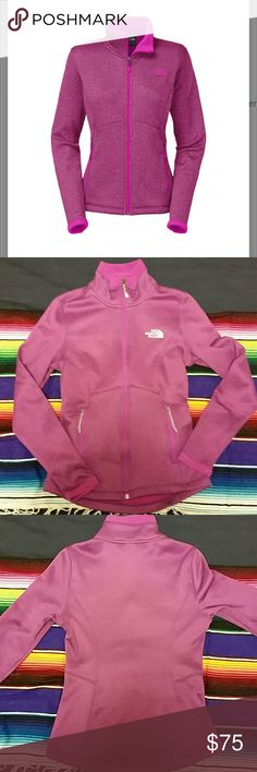 North Face Agave fleece/soft shell Beautiful color. Worn 3 times. Cozy and sporty. First photo is stock photo with pink logo. The one for sale has white logo. Warm fleece inside with durable water resistant outside. The North Face Jackets & Coats