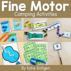 These camping fine motor skills activities are perfect for preschool, kindergarten, or homeschool students. The activities can be performed multiple ways as they help develop the budding #finemotorskills of prek or kinder students. Some of the activities are printables, while others require little prep work. Perfect for small groups, morning tubs, centers, or any time you want your students to practice their fine motor skills. #Kindergarten #Preschool #FineMotor