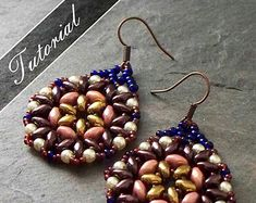 Free+Patterns+Using+Twin+or+super+duo+beads   Bead Pattern, Bead Weaving Tutorial , Lotus Super Duo Earrings Pattern ...