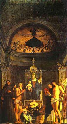 St Job Altarpiece | Giovanni Bellini | 1480 | tempera and oil on panel | 186 x 102 in | Galleria dell'Academia, Venice, Italy