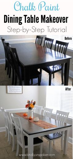 Gorgeous Chalk Paint Dining Table Makeover (DIY) - Want to learn how to use chalk paint to update your furniture? Check out my Chalk Paint Dining Table Makeover DIY Tutorial for beginners using Rustoleum Chalk Paint! Dining Table Makeover, Diy Dining Room, Diy Dining, Chalk Paint Dining Table, Painted Kitchen Tables, Diy Dining Room Table, Table Makeover, Diy Kitchen Table, Dining Room Table Makeover
