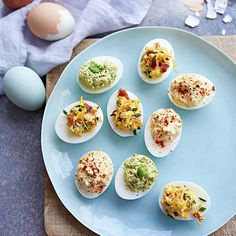 Deviled eggs pack in protein! Try our classic version or a bacon and cheese or edamame variation.