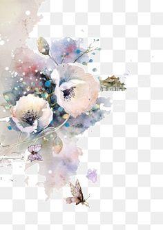 Ideas For Flowers Drawns Aquarela Flower Frame, Flower Art, Free Watercolor Flowers, Flower Png Images, Color Ink, Blue Drawings, Ink In Water, Flower Garden Design, Wedding Table Flowers