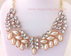 Bubble Necklace, peach Bubble Necklace, Bib Necklace, beadwork necklace,Beaded Jewelry, Statement Necklace on Etsy, $6.99
