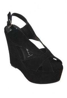 The mariel wedge in black suede, jeffrey campbell, $119