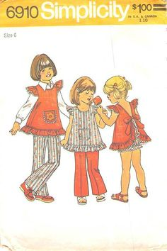 SIMPLICITY 6910 - FROM 1975 - UNCUT - CHILDS TOP, PANTIES, & TROUSERS