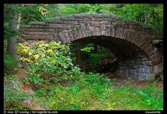 Carriage road bridge. Acadia National Park, Maine, USA.