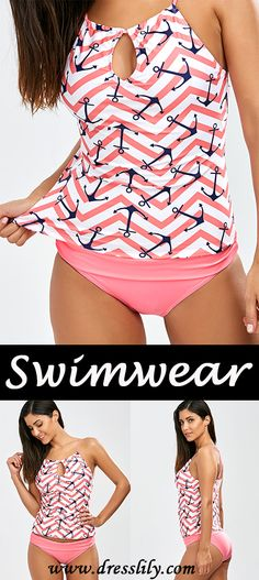 Anchor Print Keyhole Neck Tankini Swimwear