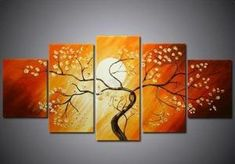 Flower Tree under Moon Painting, 5 Piece Canvas Art, Abstract Painting, Bedroom Canvas Painting - LargePantingArt.com #painting #artpainting #wallart #walldecor #buyartonline #abstractart #abstractpainting #canvaspainting #artwork #largepainting #buypaintingonline #artforsale #paintingforsale