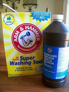 Peroxide and Washing Soda | Homemade Oxy Clean: 1 cup water, 1/2 cup hydrogen peroxide,1/2 cup washing soda (~I should test this next to the Oxy-Boost that I buy in bulk.)