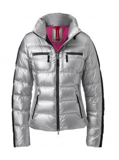 DOWN JACKET LEONY-D  A true eye-catcher both on the slopes and in the city, this retro ski style jacket from Fire + Ice now comes in a fabulous silver color!   http://shop-us.bogner.com/down-jacket-leony-d-87981.html