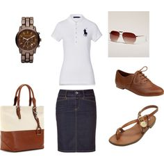 Preppy girl..hate the brown shoes love the sandals