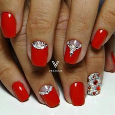 Evening nails, Festive nails, Half moonnails with rhinestones, Luxurious nails…