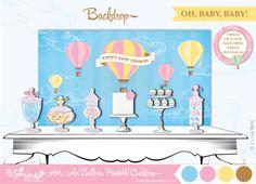 2 Love Birds Hot Air Balloon Party Backdrop