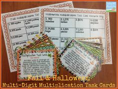 Fall & Halloween Multi-Digit Multiplication Task Cards! $