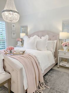 Guest bedroom summer refresh featuring Flower Home by Drew Barrymore – The Decor Diet Glam decor Home inspiration Blush tassel Throw Blanket Cute Bedroom Ideas, Girl Bedroom Designs, Room Ideas Bedroom, Home Decor Bedroom, Rooms To Go Bedroom, Blush Bedroom Decor, Bedroom Styles, Bedroom Inspo, Bedroom Inspiration