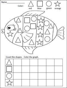 FREE kindergarten math activity for practiciing shapes and graphing= Rainbow Fish Graphing Activities, Kindergarten Math Activities, Homeschool Math, Kindergarten Classroom, Fun Math, Teaching Math, Numeracy, Rainbow Fish Activities, Math Games
