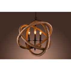 This modern 3-light chandelier features three incandescent bulbs and a unique rope design encircling the lights.