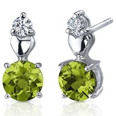 Peridot Earrings Sterling Silver Rhodium Nickel Finish Heart Design 150 Carats * You can find more details by visiting the image link.(This is an Amazon affiliate link and I receive a commission for the sales)