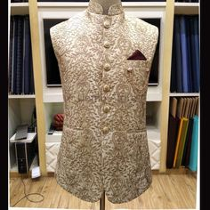 Golden Full Embroidered Waistcoat Customized at your body size. Indian Wedding Suits Men, Wedding Kurta For Men, Groom Wedding Dress, Indian Groom Wear, Waistcoat Men Wedding, Wedding Waistcoats, Punjabi Kurta Pajama Men, Stylish Waistcoats, Gents Kurta Design
