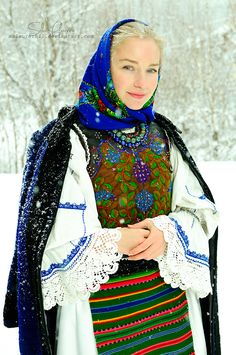 Blue Winter by MsLaurethil on DeviantArt Ethnic Fashion, Boho Fashion, Womens Fashion, Traditional Fashion, Traditional Dresses, Romania People, Romanian Women, Popular Costumes, Folk Costume