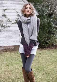 Grey lulu, white tank, skinny jeans, brown boots, white scarf