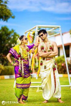Stunning Lime Green and Purple Nine Yard Madisar Saree Indian Wedding Couple Photography, Bride Photography, Pre Wedding Photoshoot, Wedding Poses, Wedding Couples, Wedding Ideas, Wedding Dress Men, South Indian Bride, South Indian Weddings