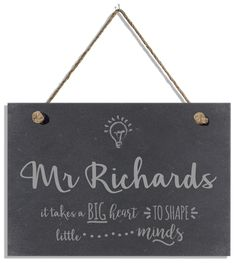 Looking for an end of term gift or a gift for Christmas? Look no further than this hanging slate sign. Teacher Appreciation Gifts, Teacher Gifts, Personalised Childrens Gifts, Slate Signs, Teacher Christmas Gifts, Name Gifts, Valentines For Kids, Hanging Signs, Sign Design