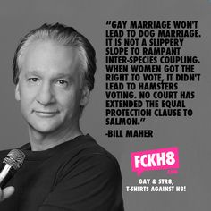 """""""Gay marriage won't lead to dog marriage.  It is not a slippery slope to rampant inter-species coupling.  When women got the right to vote, it didn't lead to hamsters voting.  No court has extended the equal protection clause to salmon.""""  -- BILL MAHER"""