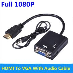 HDMI to VGA Adapter Converter Cable HD 1080p with Audio