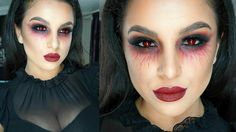 vampire makeup black eyes and red lips step by step