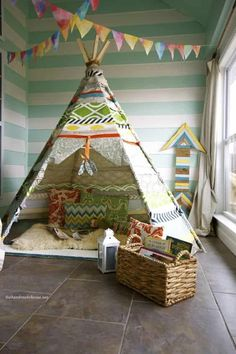 Handmade no sew Tee Pee I've wanted a teepee for about, oh, seven years now. did you know tipi, tepee + teepee are all acceptable? Teepee Diy, No Sew Teepee, Kids Teepee Tent, Play Tents, How To Make Teepee, Kids Crafts, Diy And Crafts, Craft Projects, Sewing Projects