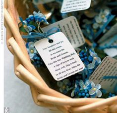 Attached is a wedding bell... cute saying... (can get bells at Dollar store and DIY them to look cute).